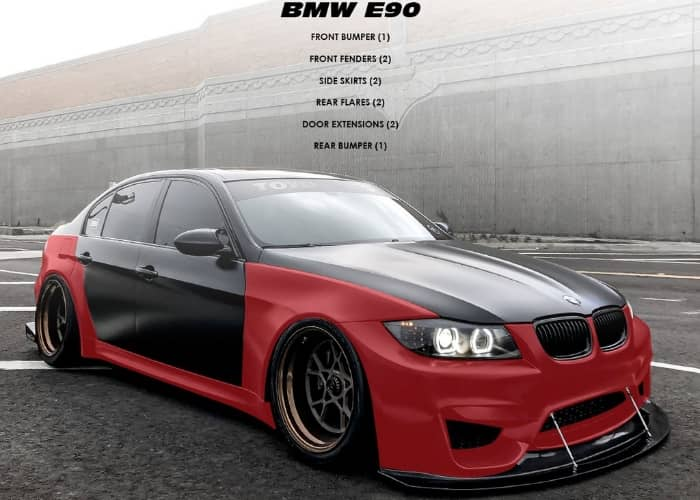 BMW E90 WTCC 4 Door Body Kit SFXLAE90WTCCFULLKIT SFXLA E90 WTCC FULLKIT